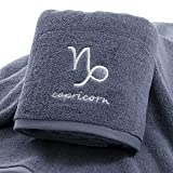 IAMZHL Thick Cotton Towel Set Face Bath Shower Towels Twelve Constellations Embroidery Large Bathroom Home for Adults toalha de banho-Grey Capricorn-1-1pcs 70x140cm