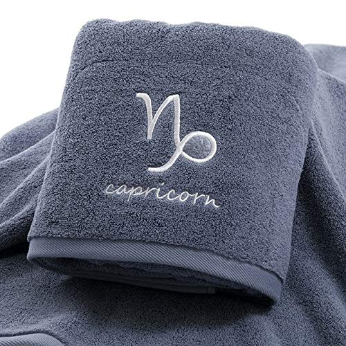 IAMZHL Juego de Toallas Gruesas de algodón Toallas de Ducha para baño Facial Doce Constelaciones Bordado Baño Grande Hogar para Adultos toha de banho-Grey Capricorn-1pcs 35x75cm