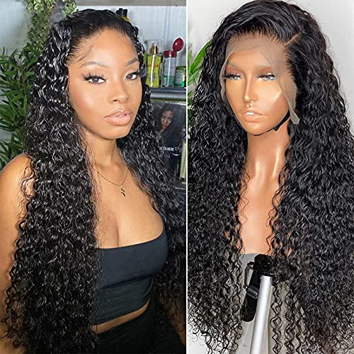 ISEE Hair Deep Wave Lace Front Wigs Glueless Transparent Lace Front Human Hair Wigs For Black Women Pre Plucked With Baby Hair 150% Density (22''13x6 Lace Front Wig)