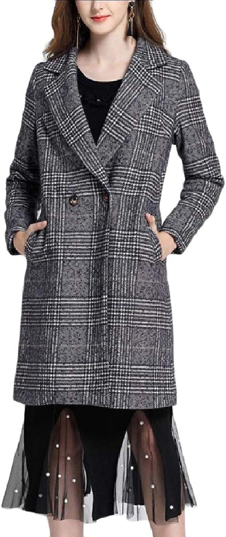 Baseby Womens Wool Blended Fit Classic Plaid Notch Lapel Pea Coat Jacket