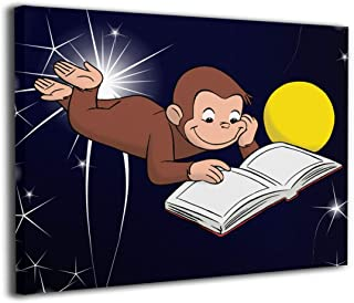 OYE Curious George Reading Wall Art Pictures Frameless Paintings Canvas Prints for Living Room Bedroom Home Interior Decorations 20x16Inch
