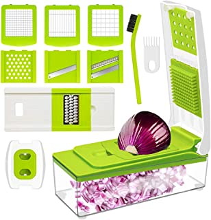 Vegetable Chopper, ANKO Adjustable Vegetable and Fruit Slicer Cheese Grater Multi Blades; Stainless-Steel Blades; BPA-FREE; 10-in-1 Multi-Functional with Cleaning Brush