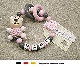 Baby Greifling Beißring geschlossen mit Namen - individuelles Holz Lernspielzeug als Geschenk zur Geburt Taufe - Mädchen Motiv Bär und
