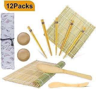 Juego de sushi 12 piezas, OFUN Kit para Hacer Sushi Bambú-