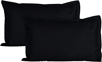 Ahmedabad Cotton Luxurious Sateen Striped Pillow Cover/Case Set (2 Pcs) 300 Thread Count - Black