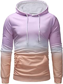 RkBaoye Men Kangaroo Pocket Pullover Gradient Hood Outwear Simple Sweatshirts
