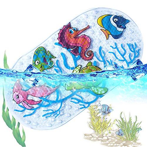 Anti Rutsch Pads Badewanne Dusche Kinder - Badewannenmatte Naturgummi Kann Waschbar Badematte 39X69Cm(Ocean World)