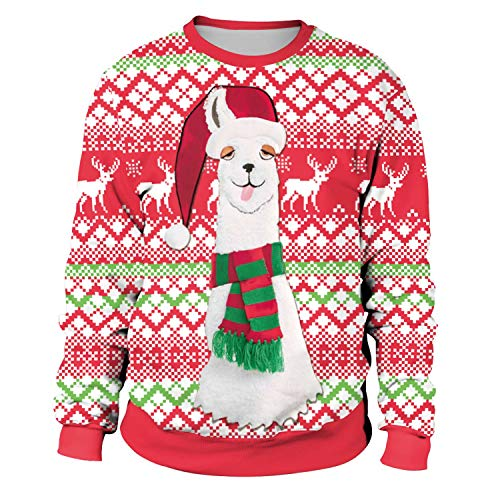 Womens Ugly Christmas Sweatshirt Ilama Funny Novelty Animal Xmas Sweater Shirt Pullover - XL