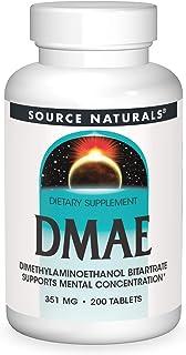 Source Naturals DMAE, Dimethylaminoethanol Bitartrate - Supports Mental Concentration - 200 Tablets