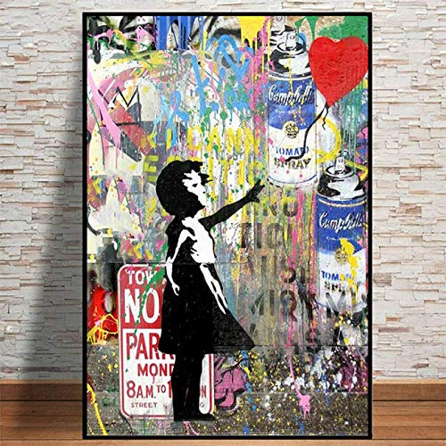 YF'PrintArt Cuadros Decorativos,Arte De Graffiti Callejero Sigue Las Pinturas E Impresiones En Lienzo De Tus Sueños Murales De Sala De Estar Decoración del Hogar Sin Marco 50X70Cm,R392