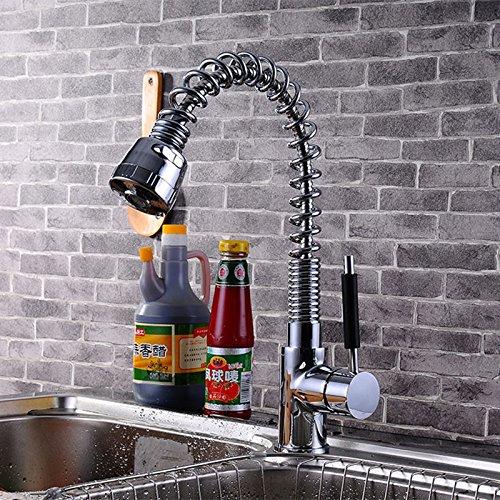 COZZR Saque el fregadero grifo mezclador de dona la porcelana sanitaria de primavera por el grifo de fregadero de cocina Fregadero Mezclador de latón macizo