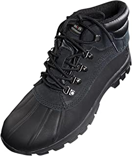 Mens Warm Waterproof Winter Leather Mid Height Snow Boot