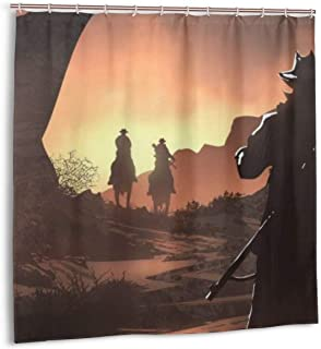 Red Dead Redemption 2 Shower Curtain Rockstar Games Waterproof Bath Shower Curtain for Bathroom Decor with Hooks 72X 72 Inch,Plastic