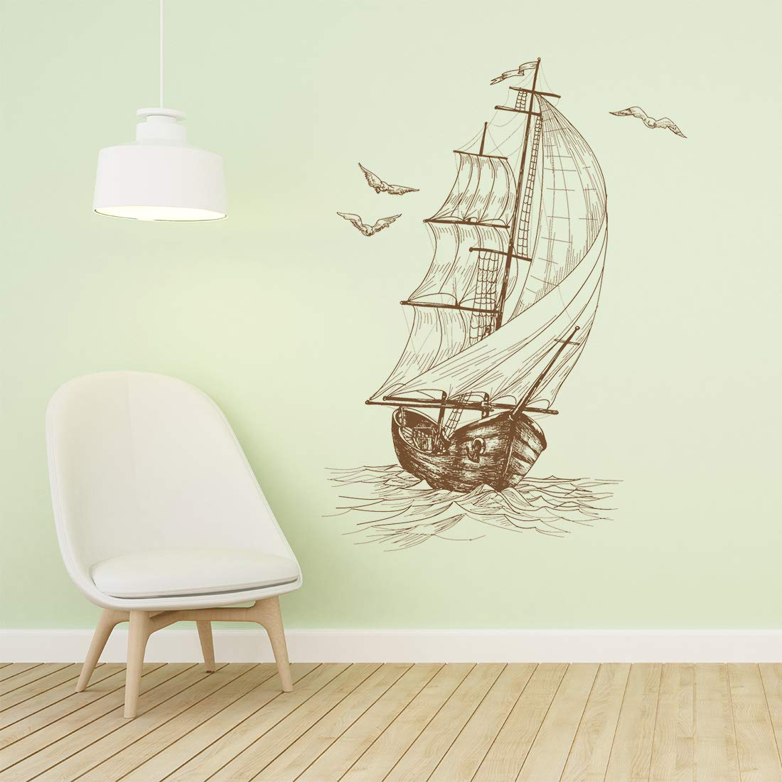 Quickun Wall Stickers, Wall Decals, Sailboat Decor for Wall Murals Home Decor Removable Windows Decorations Wallpaper Treatments (Sailboat)