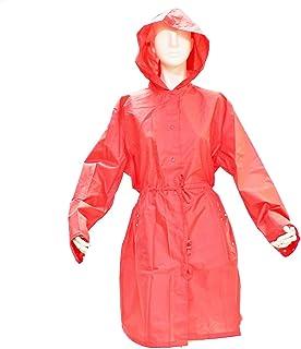 収納袋付き レインコート パーカータイプ 無地 ドットトリミング コーラル ピンク 全3色 フリーサイズ(M~L) HR16MDPA-CORALPINK