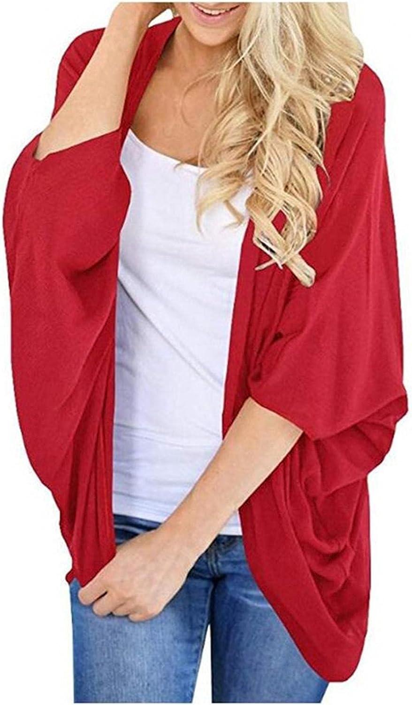 Hemlock Women Kimono Cardigans Solid Color Shawl Open Front Cardigan Coat Outwear Tops