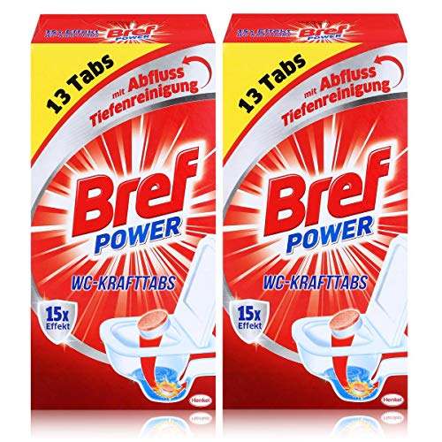 Bref Power 15x Effekt WC-KraftTabs (2 x 13 Tabs) Toiletten Reiniger (2er Pack)