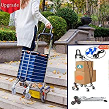 Foldable Shopping Cart Portable Grocery Cart Utility Lightweight Stair Climbing Cart with Rolling Swivel Wheels and Removable Waterproof Canvas Removable Bag