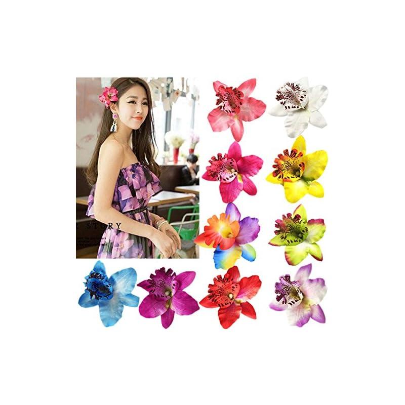 silk flower arrangements 10 pieces women chiffon flowers hair clips butterfly orchid alligator clips for bridal wedding accessory beach party wedding event decor