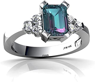 14kt Gold Lab Alexandrite and Diamond 7x5mm Emerald_Cut Simply Elegant Ring