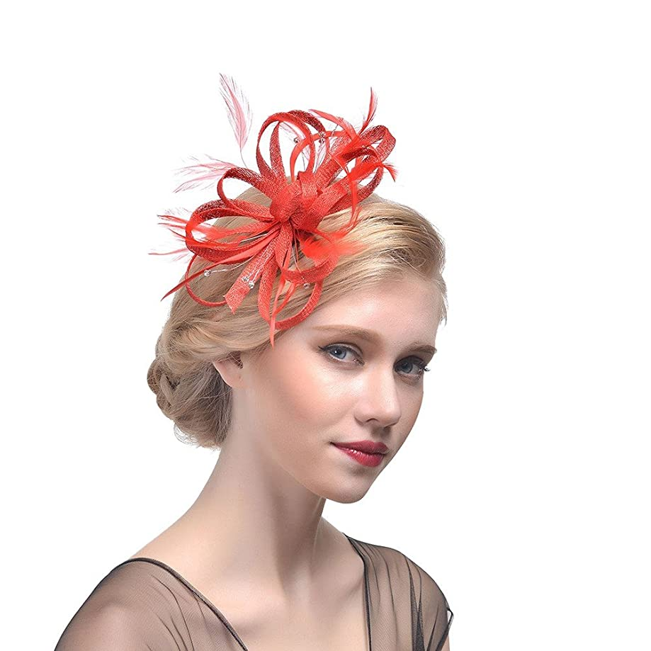 DEATU Sale Elegant Fascinator Hats for Women Girls Ladies Feather Cocktail Tea Party Fancy Hat Bridal Headband Hair Clip