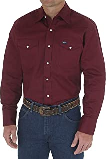 Men's Western Long Sleeve Snap Firm Finish Work Shirt