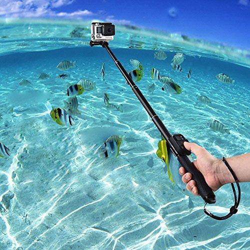 COOSA Wasserdichter Selfie-Stick mit 36-110cm Länge inkl. Stativ und Bluetooth Fernbedienung für Sport Action Kameras z.B. Gopro Hero/Canon/Nikon/Sony sowie Handys, mit Zubehör-Set (schwarz)