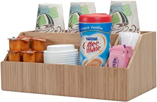 Coffee Condiment & Accessory Organizer holds Cups, Lids, Espresso Pods, Sugar, Stirs, Creamer & more Kitchen & Commercial Use, Bamboo, 4 Sections