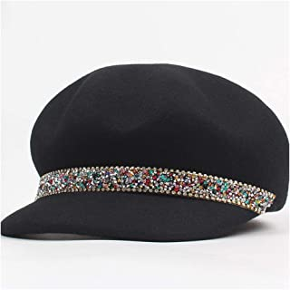 JAUROUXIYUJI New 100% Wool Women Felt Fedoras Hats Lady Equestrian Beret Hat Cap Rhinestone Octagonal Caps Hat (Color : Black, Size : 56-58CM)