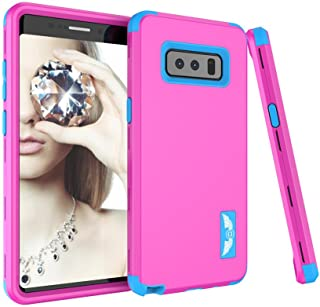 Samsung Galaxy Note 8 Case, SUMOON [New-Arrival][Drop Protection] Hybrid Heavy Duty Three Layer Verge Shockproof Full-Body Protective Armor Defender Case for Samsung Galaxy Note 8 2017 (Rose+Blue)