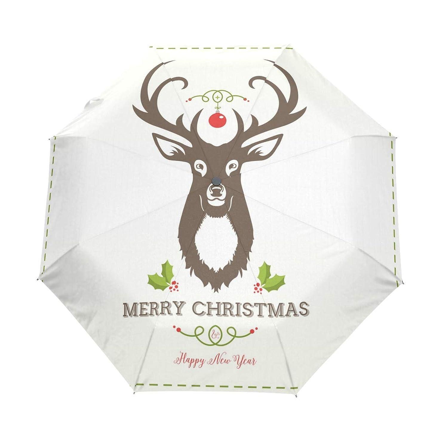 LittleLuck Christmas Theme Deer Head Merry and Happy New Year Umbrella Watercolor 3 Folds Auto Open Close Anti-UV Umbrella