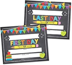 10 Colorful First and Last Day of School Signs, Back to School Photo Booth Prop Chalkboard Style, 1st Preschool, Kindergarten, Pre K Grade, Reusable Reversible Girl Boy Kid Child Year 8x10 Card Stock