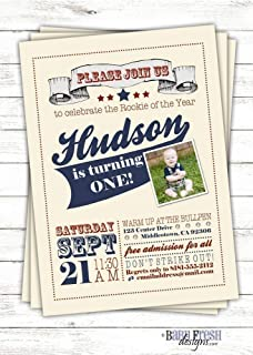 Rookie of the Year vintage inspired baseball birthday invitation - Printed on cardstock - SET OF 10
