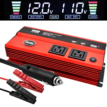 1000 Watt Inverter for Car Power Converter LncBoc Dual Ac Outlets 12V Dc to 110V Ac Modified Sine Wave Inverter With Usb Charger Battery Clips for Tablets, Laptop And Smartpho