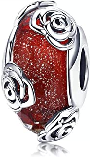 Murano Glass Charms Bead Sterling Silver Core for European Charm Bracelets Flower
