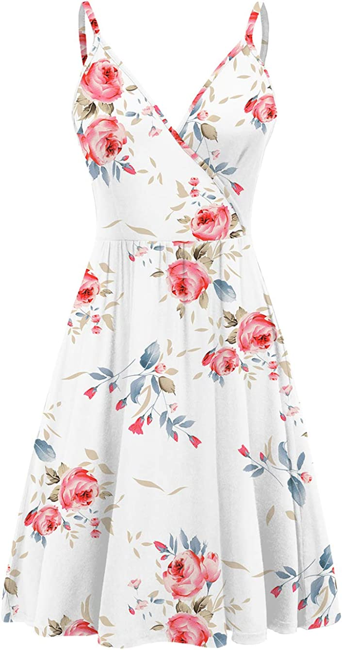WEACZZY Women's Summer Floral Spaghetti Strap Sundress Sleeveless V-Neck Swing Casual Dresses with Pockets