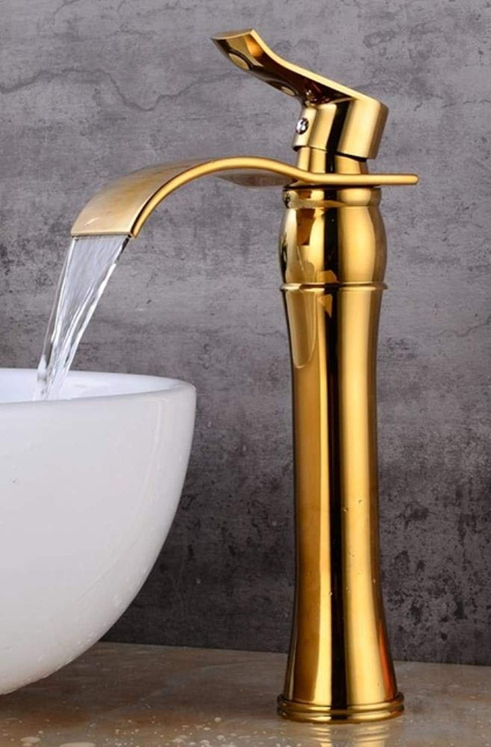 Kai&Guo s Antique Bronze Bathroom Faucet hot and cold Crane Brass Basin Faucet Waterfall Sink Faucet Single Handle water tap,gold
