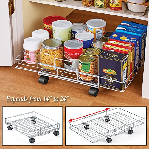 """Flat Rolling Floor Shelf Metal Storage Cart - Expandable to 24"""" W - Slim Cart Holds Up to 22 Lbs. on 4 Caster Style Wheels, Fits Under Beds, Desks or Shelving"""