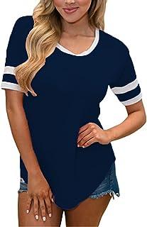 SimpleFun Women Summer Short Sleeve Baseball Tee Shirts Crew Neck Tshirts Loose Casual Blouses Tops
