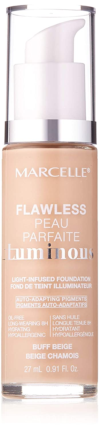 Marcelle Flawless Luminous Foundation, Buff Beige, Hypoallergenic and Fragrance-Free, 0.91 fl oz
