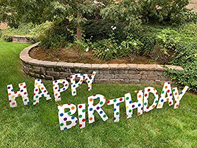 Note Card Cafe Happy Birthday Yard Sign Lawn Letters Set with Stakes | Primary Color Dots Design for Girl, Boy, Colorful Party Outdoor Decorations | Large Single Sided Signs