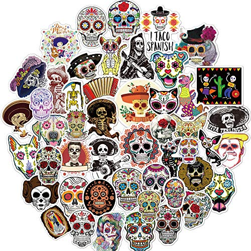 Sugar Skull Stickers for Mexican Day of The Dead(50pcs),Halloween Theme Death Day Stickers Laptop Stickers Waterproof Bike Skateboard Luggage Decal Graffiti Patches Decal