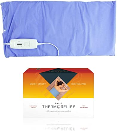 Electric Heating Pads for Back Pain and Cramps by ThermoRelief Basic - Extra-Large Moist