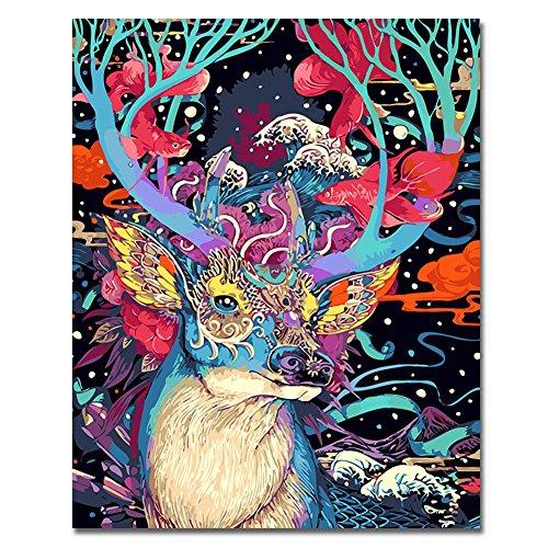 RIHE Houten Frame, Verf door cijfers DIY Olieverfschilderij Kleurrijke Leeuw Canvas Print Muur Art Home Decoratie with wood frame Herten