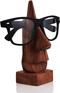 storeindya Handcrafted Wooden Eyeglass Spectacle Holder Organizer Stand Desk Desktop Sunglasses Display Eyewear Decorative Accessories Nose Shaped (Brown Collection)