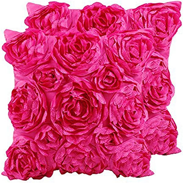 SeptCity Decorative Throw Pillow Covers For Couch Cushion Case Romantic Love Satin Rose Wedding Party Home Decor Home Gift Set Of 2 Hot Pink