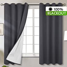 BGment Total Blackout Curtains with Coated Lining, Grommets Thermal Insulated Room Darkening Curtain for Bedroom and Living Room, 52 x 63 Inch, 2 Panels, Dark Grey
