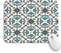 ROSECNY 可愛いマウスパッド ブルー美しい色のパターンとポルトガルタイルアズレージョモロッコ滑り止めゴムバッキングマウスパッドノートブックコンピュータマウスマット