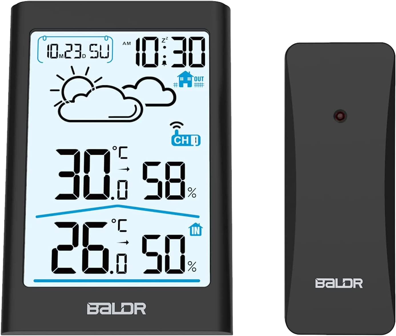 BALDR Weather Station, Indoor Outdoor Thermometer for Home, Digital Room Thermometer Hygrometer Wireless Temperature and Humidity Gauge, with Backlight, Alarm Clock, Weather Forecast - Black