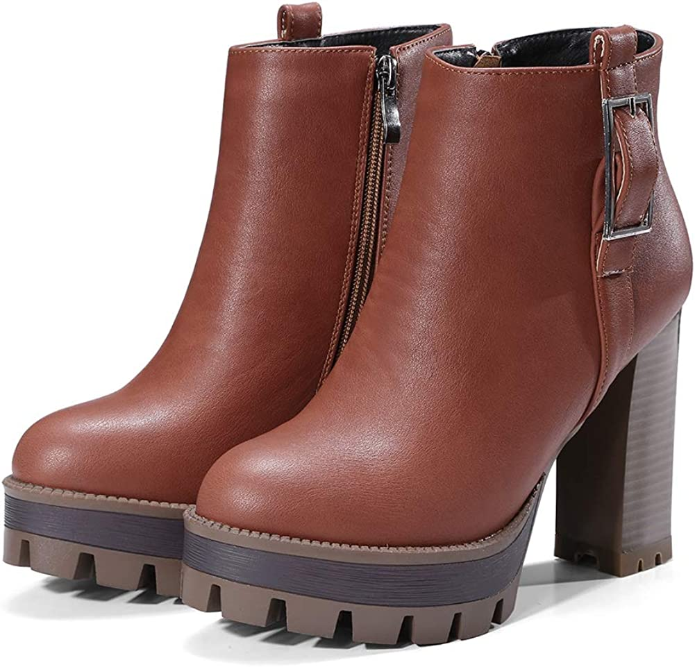 Vimisaoi Women's Finally popular brand Vintage Platform Boots Ank High Block Zip Reservation Heel